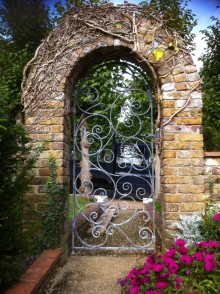 decorative garden forged iron door